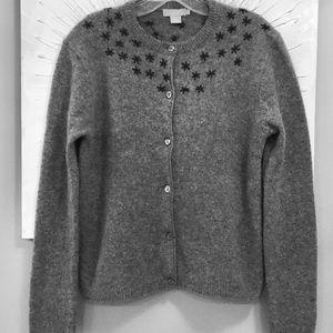 JCrew 100% lambswool cardigan embroidered stars M